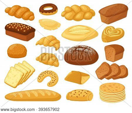 Cartoon Bread. Bakery Products, Roll Baguette, Bread Loaf And Toast, Sweet Donut, Cake And Croissant