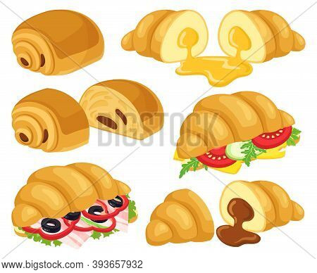 Cartoon Croissant. Baked Croissant With Chocolate, Caramel, Cheese And Ham Croissant Sandwiches. Bre