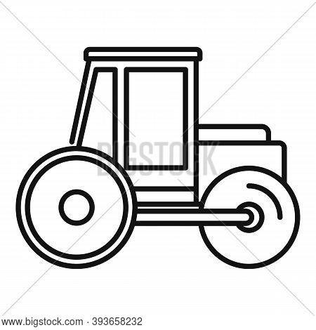 Paving Road Roller Icon. Outline Paving Road Roller Vector Icon For Web Design Isolated On White Bac