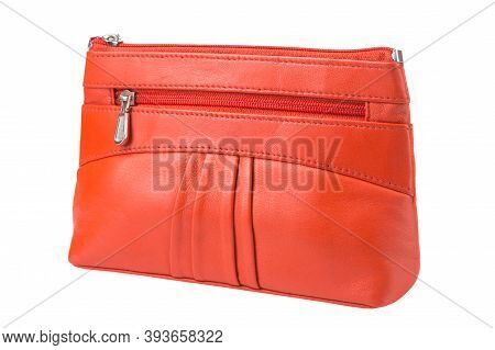 Orange Female Clutch Bag On A White Background