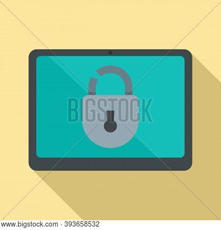 Tablet Unlock Fraud Icon. Flat Illustration Of Tablet Unlock Fraud Vector Icon For Web Design