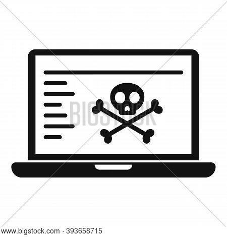 Hacked Laptop Icon. Simple Illustration Of Hacked Laptop Vector Icon For Web Design Isolated On Whit