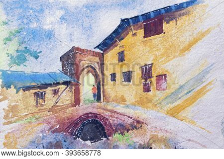 Bright Watercolour Painting Of Houses And A Gate, A Man Passing Through. Indian Watercolour Painting