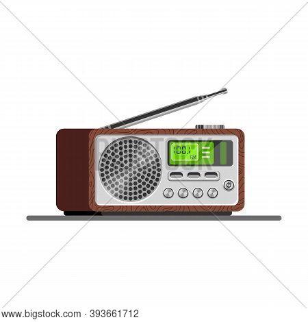 Radio Tuner. Vector Illustration Of Radio Receiver, Flat Style. Retro Radio.