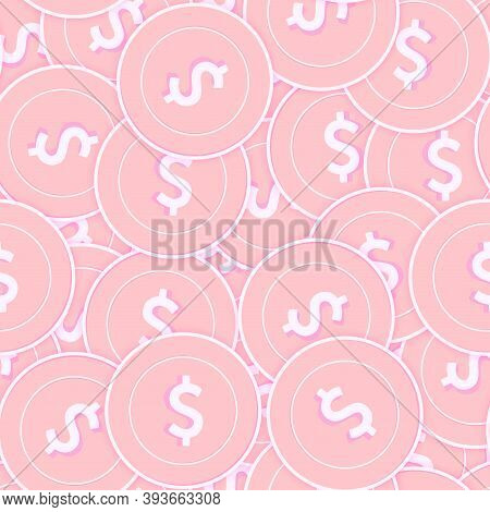 American Dollar Copper Coins Seamless Pattern. Magnificent Scattered Pink Usd Coins. Success Concept