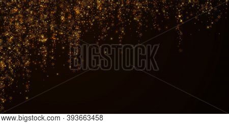 Beautiful Starry Snow Christmas Overlay. Christmas Lights, Bokeh, Snow Flakes, Stars On Night Backgr