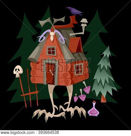 Baba Yaga House. Old Witch From Slavic Folklore. Fairytale  Hut Standing On Chicken Legs. Vector Ill