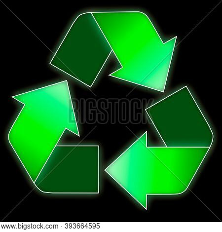 Stock Illustration of a Recycling symbol Isolated recycling sign on black background