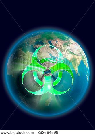 Stock Illustration of a Glowing biohazard symbol over Earth globe Conceptual 3D illustration Environment and ecology concept Isolated on dark blue background Vertical