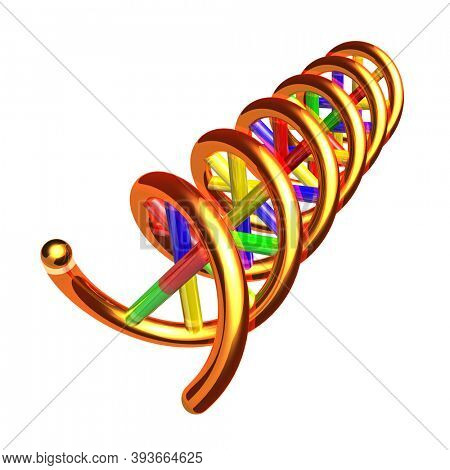 DNA molecule double helix 3D illustration isolated on white background