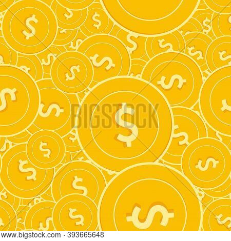 American Dollar Coins Seamless Pattern. Graceful Scattered Usd Coins. Big Win Or Success Concept. Us