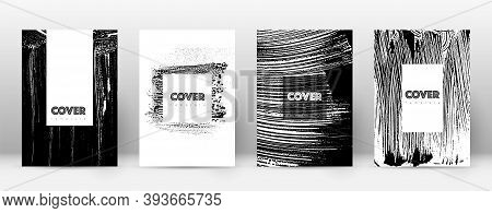 Cover Page Design Template. Hipster Brochure Layout. Breathtaking Trendy Abstract Cover Page. Black