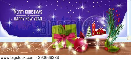 Christmas Winter Background With Glass Snow Ball, Window, Gift Box, Garland Lights, Fir Branch. X-ma