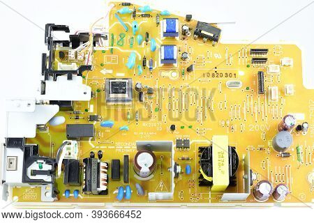 Mounted Circuit Board, Front View, Radio Components, Different Sizes And Ratings