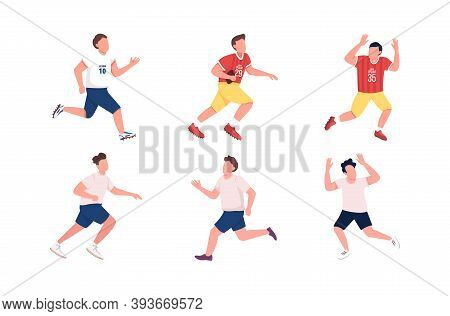 Football Players Flat Color Vector Faceless Character Set. Athlete Running. Man Catch Ball. Soccer,