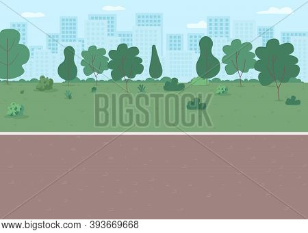 Park Way Flat Color Vector Illustration. Parkway With Lawn, Walkway. Place For Recreation. Downtown