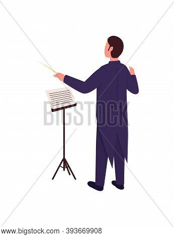 Orchestra Conductor Flat Color Vector Faceless Character. Man Direct Concert. Director In Formal Sui