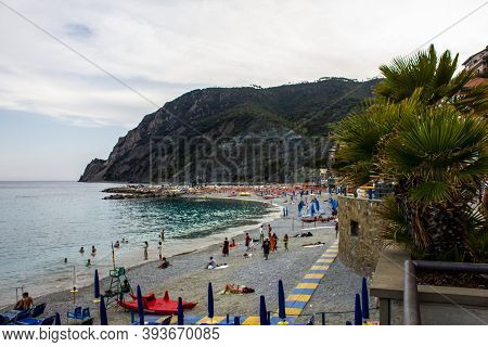 Monterosso Al Mare, Italy - July 8, 2017: View Of People On Fegina Beach In Monterosso Al Mare On A