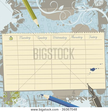 School Timetable Template And Background