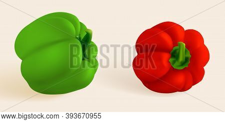 Paprika Capsicum Top View Paprika Isolated. Sweet Papper, Hungarian Pepper Cut And Whole. Capsicum H