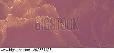 Ink Golden Pattern. Brown Glitter Splash. Orange Heat Molten Abstraction. Red Rock Artistic Foil. In