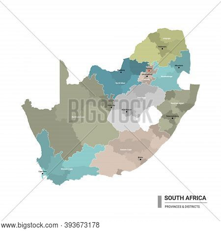 South Africa Higt Detailed Map With Subdivisions. Administrative Map Of South Africa With Districts