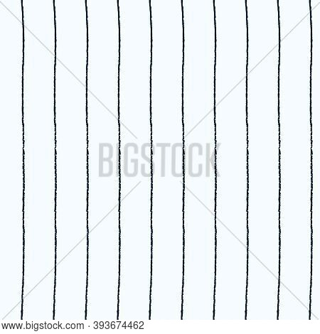 Seamless Repeating Pattern With Hand Drawn Uneven Black Stripes On Light Blue Vector Background For
