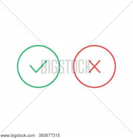 True And False Icon. Check Mark And Cross Set Icon. Yes Or No Symbol. Vector Illustration Isolated O