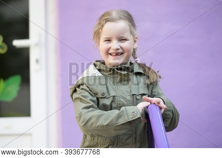 Belarus, The City Of Gomil, May 30, 2019. Open Day In Kindergarten. Cheerful Preschool Girl.