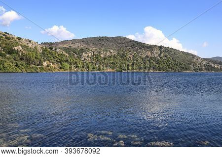 Koutavos Lagoon.  Koutavos Lagoon Is Located On The Greek Island Of Kefalonia.  The Lagoon Lies At T