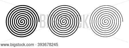 Spiral Sign Isolated On White Background. Set Of Different Size Spirals For Web And Applications. Ve