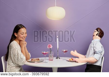 Relationship Simulations Concept. Romantic Woman Admires Her Unreal Lover, Starts Serious Relations,