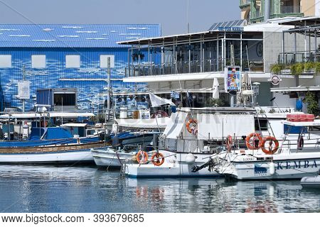 Limassol, Cyprus, July 2nd, 2020: Boats Moored In Limassol Old Port On Sunny Summer Day