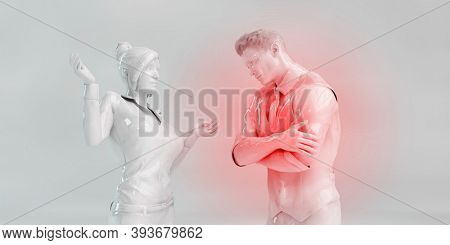 Emotional and Verbal Abuse in a Relationship 3d render