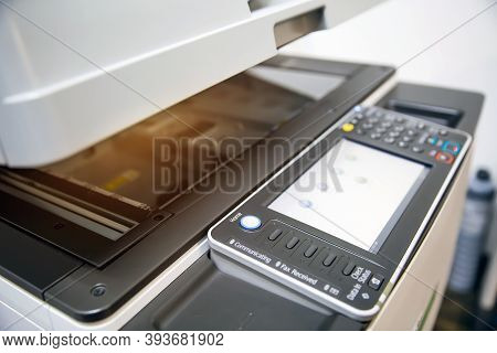 Close-up Bottom Panel Of The Photocopier Or Xerox Printer Machine Is Office Work Tool Equipment In C
