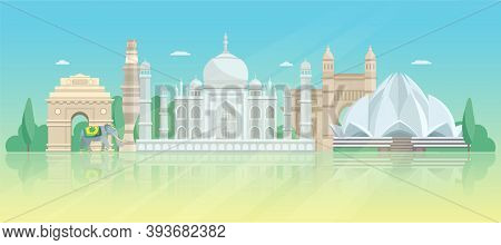 India Architectural Skyline Poster With Taj Mahal Lotus Temple Tower Of Victory And Gate Vector Illu
