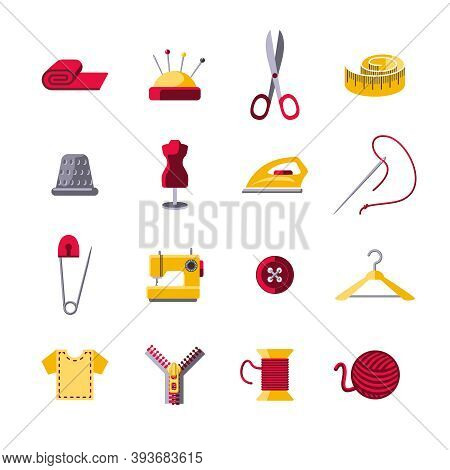 Sewing Icons Set With Hanger Shears Pin Cushion Isolated Vector Illustration