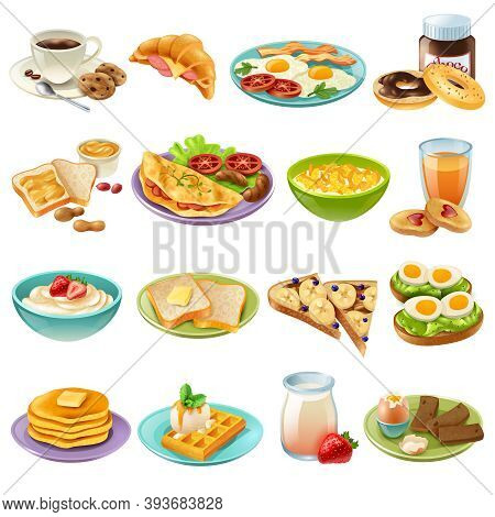 Breakfast Brunch Healthy Start Day Options Food Realistic Icons Collection With Coffee And Fried Egg