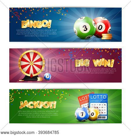 Set Of Three Lottery Horizontal Banners With Bulletin Tickets Bingo Balls Drawing Machine And Editab
