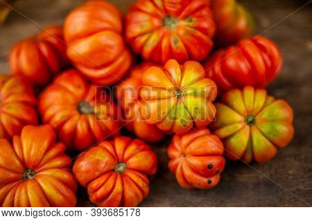 Red Ribbed Tomatoes On A Wooden Background. American Or Florentine Variety Nina. Food On The Table T