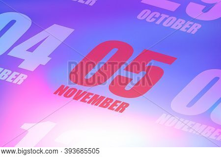 November 5th. Day 5 Of Month, Red Date Written On A Calendar To Remind Important Event. Autumn Month