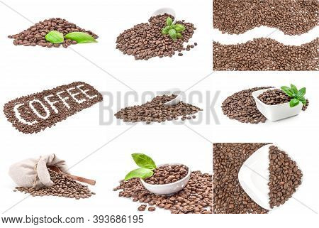 Set Of Coffee Grains On A White Background Cutout