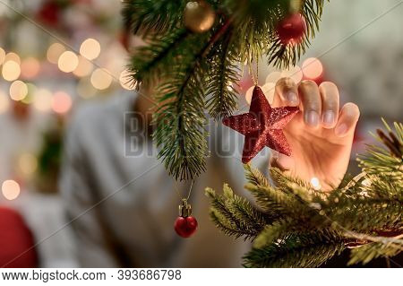 Asian Woman Decorate For Christmas Alone At Home. Family Celebrate And Happy New Year At Home.