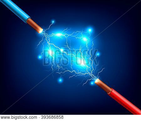 Blue And Red Electric Cables With Lightning Discharge And Sparks Realistic Composition On Dark Backg