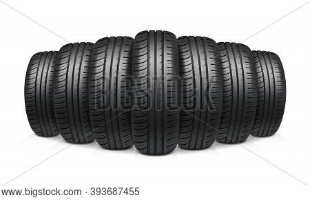 Car Tires With Similar Tread Assembled In Row Realistic Design Concept Vector Illustration