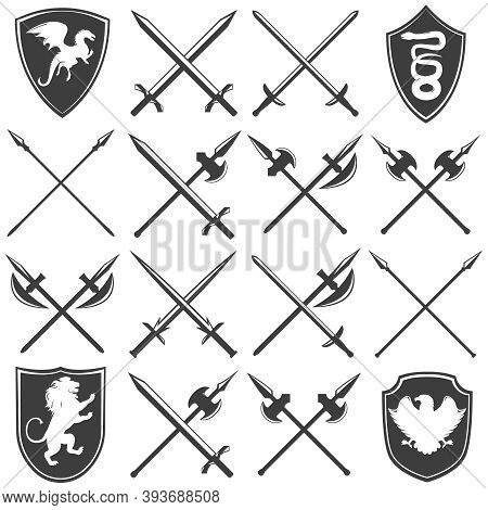 Heraldic Armory Graphic Icons Set With Dragon Lion Eagle Snake Shields Gothic Swords Lances Isolated