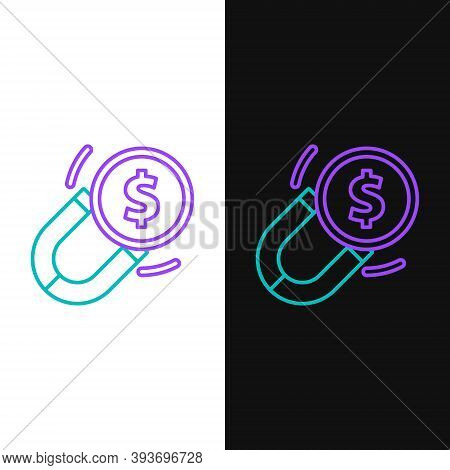 Line Magnet With Money Icon Isolated On White And Black Background. Concept Of Attracting Investment