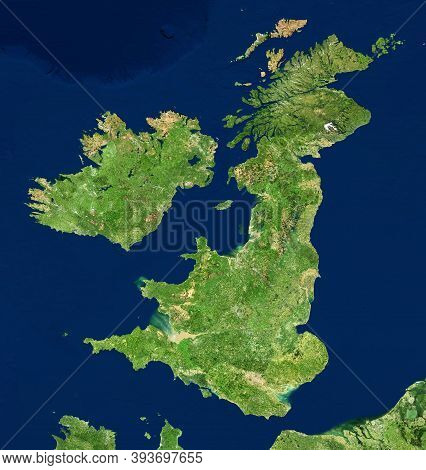 Uk Map In Satellite Photo, England Terrain View From Space. Physical Topographic Map Of Great Britai
