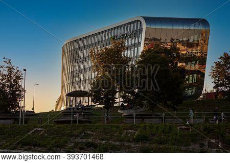 Vilnius, Lithuania - September 22, 2020: Futuristic Building Of Business Center Green Hall Sba Group