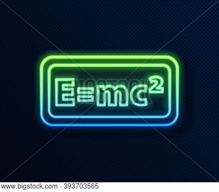 Glowing Neon Line Math System Of Equation Solution Icon Isolated On Blue Background. E Equals Mc Squ